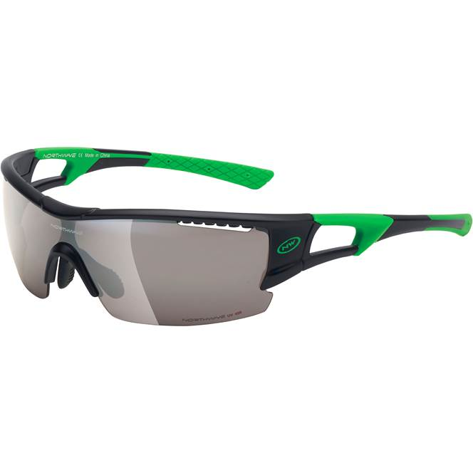 Northwave Tour Pro Black/Fluo Green - Smoke + Orange + Clear Lenses