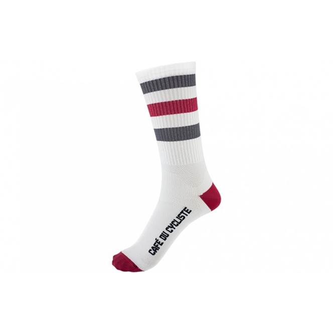 Cafe Du Cycliste High Cuff Socks White Red/Blue Striped